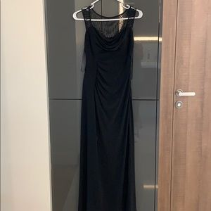 Black formal gown with beads.